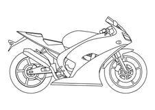 Entregue o estilo da tração de uma ilustração nova da motocicleta do vetor para o livro para colorir Imagem de Stock Royalty Free