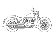 Entregue o estilo da tração de uma ilustração nova da motocicleta do vetor para o livro para colorir Fotografia de Stock