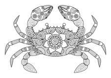 Entregue o estilo tirado do zentangle do caranguejo para o livro para colorir para o adulto Imagem de Stock