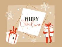 Entregue o Feliz Natal tirado do sumário do vetor e o encabeçamento novo feliz do cartão da ilustração dos desenhos animados do v ilustração stock
