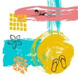 Entregue o fundo textured e esboçado sutil abstrato tirado do curso da arte da escova de pintura das horas de verão da colagem do Imagens de Stock Royalty Free