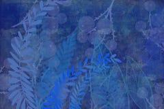 Entregue o fundo tingido arte tirado do grunge da folha e da planta com olhar da tinta do estilo japonês no fundo antiqued da bor ilustração royalty free