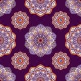 Entregue o fundo tirado com elementos decorativos em cores roxas, violetas e alaranjadas ilustração stock