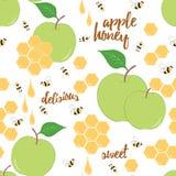 Entregue o fundo tirado com favo de mel, gota do mel, maçã e abelha Fotografia de Stock Royalty Free