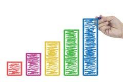 Entregue o gráfico da carta de negócio do desenho na placa branca que simboliza o crescimento foto de stock royalty free