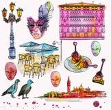 Entregue o grupo do desenho e da aquarela de esboço de Veneza Fotos de Stock Royalty Free