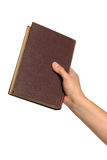 Entregue o livro do vintage da terra arrendada imagem de stock royalty free