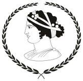 Entregue o logotipo decorativo tirado com cabeça de mulheres do grego clássico Imagem de Stock Royalty Free