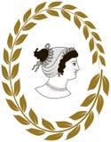 Entregue o logotipo decorativo tirado com cabeça de mulheres do grego clássico Foto de Stock