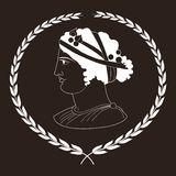 Entregue o logotipo decorativo tirado com a cabeça de mulheres do grego clássico, negativa Fotos de Stock Royalty Free