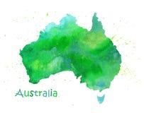 Entregue o mapa tirado da aquarela de Austrália isolou-se no branco ilustração do vetor