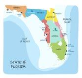 Entregue o mapa tirado de Florida com regiões e condados ilustração stock