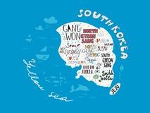 Entregue o mapa tirado do país da ilustração do vetor de Coreia, cartaz do projeto ilustração stock