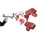 Entregue o megafone da posse com os polegares 3D que pulverizam para baixo para fora Fotografia de Stock