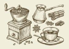 Entregue o moedor de café tirado, copo, feijões, anis de estrela, canela, chocolate, cezve, bebida Ilustração do vetor do esboço ilustração do vetor