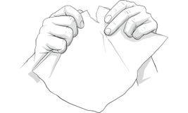 Entregue o original de papel de rasgo, falha, erro, papel do trow ao gabage ilustração do vetor