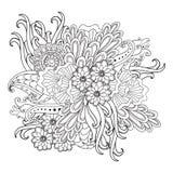 Entregue o quadro floral modelado tirado no estilo da garatuja Foto de Stock Royalty Free