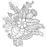 Entregue o quadro floral modelado tirado no estilo da garatuja Imagens de Stock Royalty Free