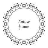 Entregue o quadro tirado do vetor da natureza do círculo (preto) com folhas Estilo do vintage ilustração royalty free