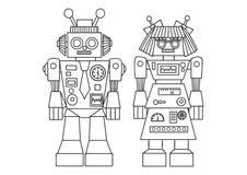 Entregue o robô bonito tirado para o elemento do projeto e a página do livro para colorir para crianças e adultos Ilustração do v ilustração royalty free