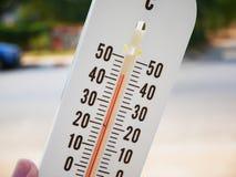 Entregue o termômetro da posse que mostra a temperatura nos graus Célsio Fotografia de Stock Royalty Free