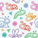 Entregue o teste padrão desenhado com insetos Fotografia de Stock Royalty Free