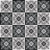 Entregue o teste padrão sem emenda de tiragem para a telha em cores preto e branco Fotografia de Stock Royalty Free