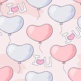 Entregue o teste padrão sem emenda tirado com balões e letras do coração Fotografia de Stock