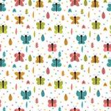 Entregue o teste padrão sem emenda tirado com borboletas e traças Elementos decorativos à moda Fundo criançola escandinavo criati Foto de Stock