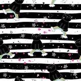 Entregue o teste padrão sem emenda tirado com gato bonito em um arco-íris, ilustração da garatuja para a cópia do vetor das crian Imagem de Stock