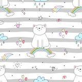 Entregue o teste padrão sem emenda tirado com gato bonito em um arco-íris, ilustração da garatuja para a cópia do vetor das crian Imagens de Stock