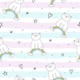 Entregue o teste padrão sem emenda tirado com gato bonito em um arco-íris, ilustração da garatuja para a cópia do vetor das crian Fotos de Stock Royalty Free