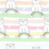 Entregue o teste padrão sem emenda tirado com gato bonito em um arco-íris, ilustração da garatuja para a cópia do vetor das crian Foto de Stock