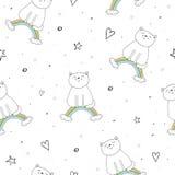 Entregue o teste padrão sem emenda tirado com gato bonito em um arco-íris, ilustração da garatuja para a cópia do vetor das crian Imagens de Stock Royalty Free