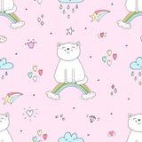 Entregue o teste padrão sem emenda tirado com gato bonito em um arco-íris, ilustração da garatuja para a cópia do vetor das crian Fotografia de Stock Royalty Free