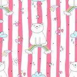 Entregue o teste padrão sem emenda tirado com gato bonito em um arco-íris, ilustração da garatuja para a cópia do vetor das crian Imagem de Stock Royalty Free