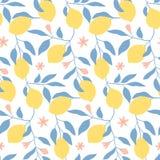 Entregue o teste padrão sem emenda tirado com limões, as folhas e as flores frescos Imagens de Stock Royalty Free