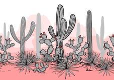 Entregue o teste padrão sem emenda tirado com montanhas, saguaro, agave azul, e a pera espinhosa Fundo latino-americano mexicano ilustração royalty free