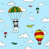 Entregue o teste padrão sem emenda tirado do vetor com gato do skydiver, baloon do ar, planos e nuvens Conceito de projeto para a ilustração royalty free