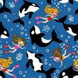 Entregue o teste padrão sem emenda tirado do vetor com golfinhos bonitos e meninas do mergulho ilustração royalty free