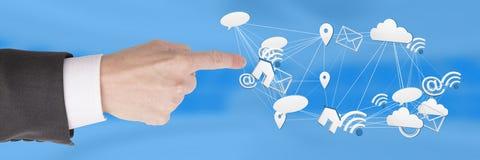 Entregue o toque com ícones conectados app misturados 3D Imagens de Stock