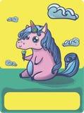 Entregue o unicórnio tirado dos desenhos animados da fantasia, garatuja bonito Imagens de Stock Royalty Free