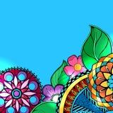 Entregue o zentangle floral colorido tirado no fundo branco Imagem de Stock
