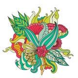 Entregue ornamental étnico artístico o quadro floral modelado tirado Imagens de Stock