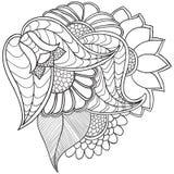 Entregue ornamental étnico artístico o quadro floral modelado tirado Fotos de Stock Royalty Free