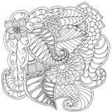Entregue ornamental étnico artístico o quadro floral modelado tirado Fotos de Stock