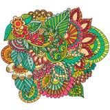 Entregue ornamental étnico artístico o quadro floral modelado tirado dentro Imagem de Stock