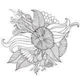 Entregue ornamental étnico artístico o quadro floral modelado tirado dentro Imagens de Stock