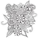 Entregue ornamental étnico artístico o quadro floral modelado tirado no estilo da garatuja Imagens de Stock