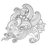Entregue ornamental étnico artístico o quadro floral modelado tirado no estilo da garatuja Foto de Stock Royalty Free